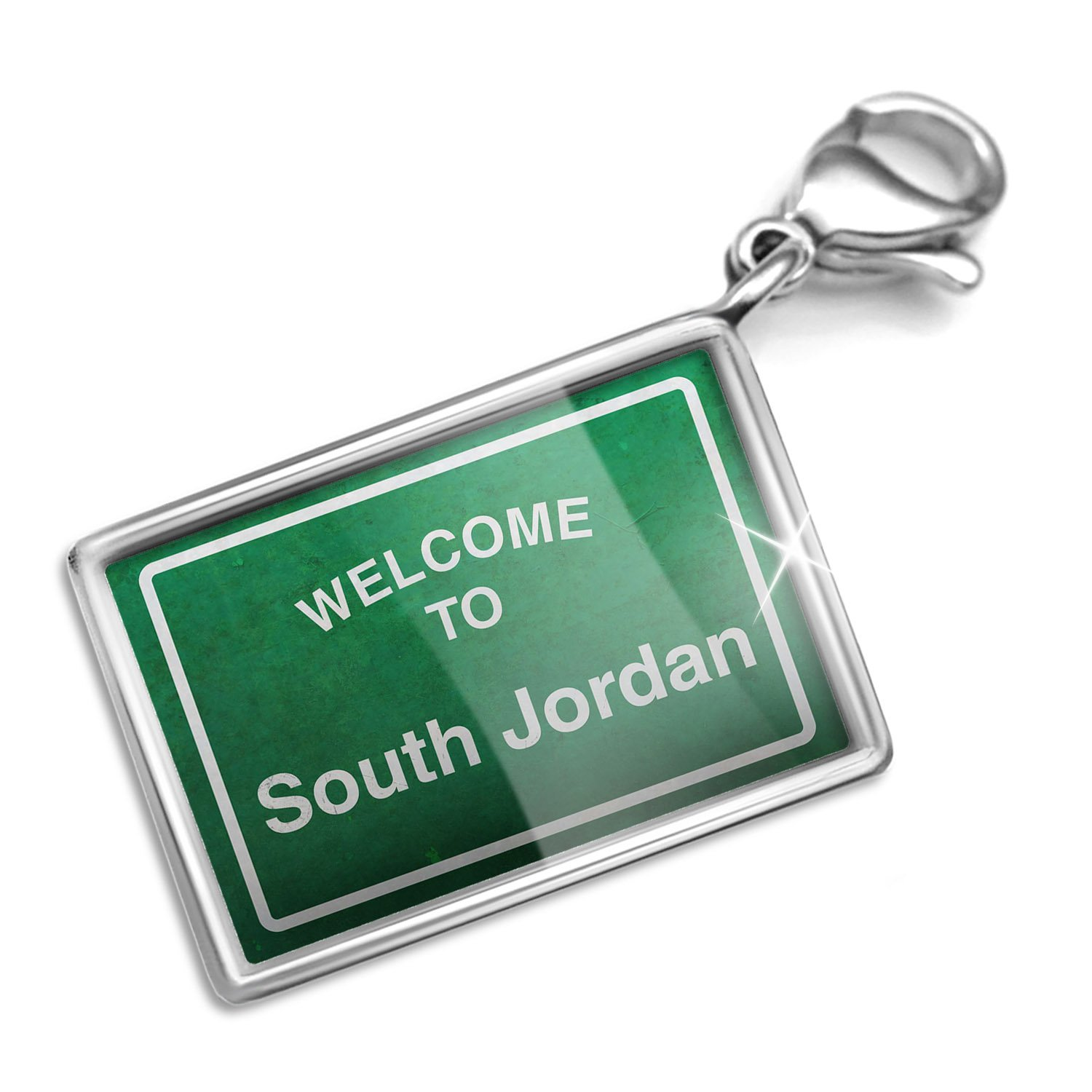 Clip on Charm & Bracelet Set Green Road Sign Welcome To South Jordan Lobster Clasp