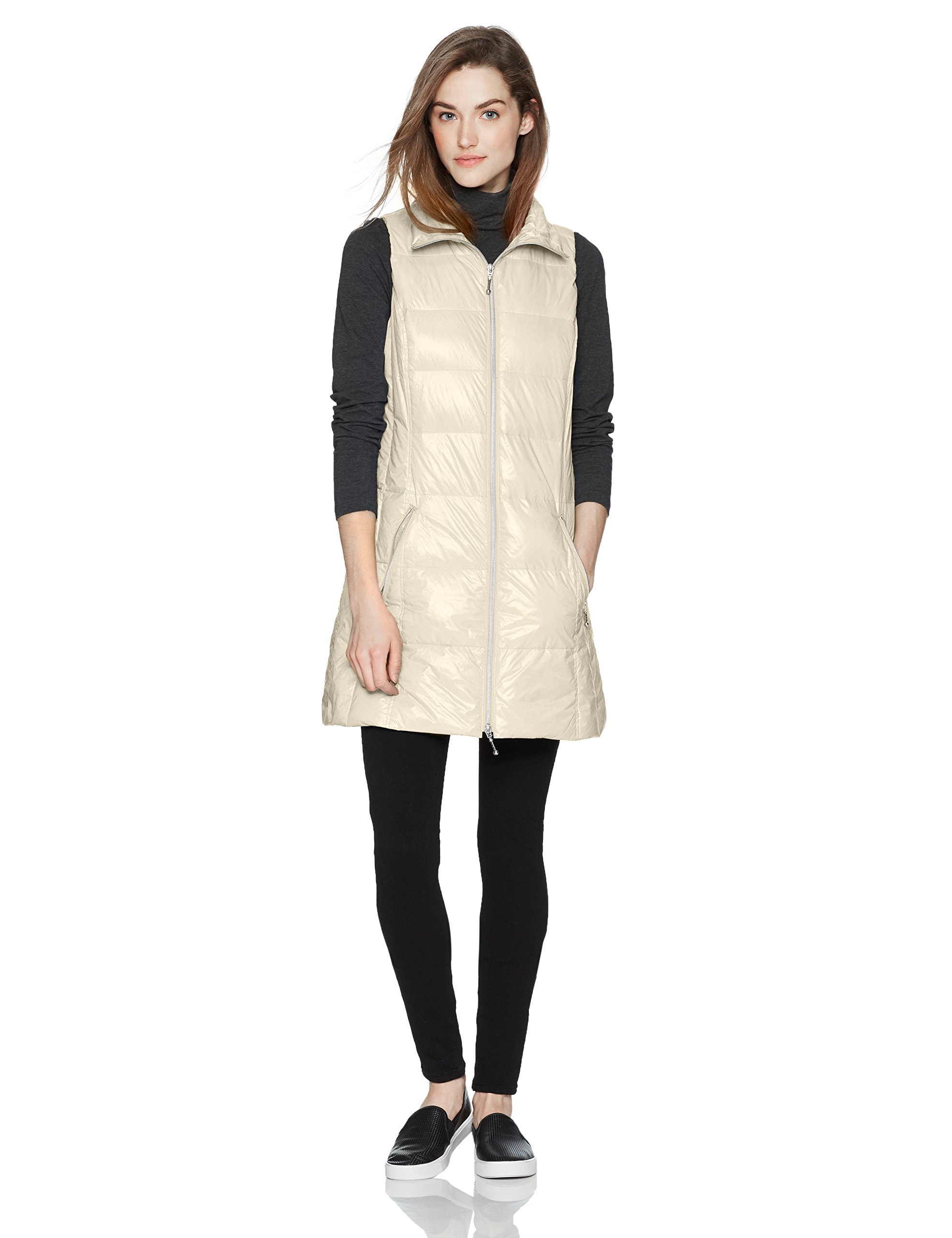 Coatology Women's Classic Long Down Vest, Ivory, S by Coatology