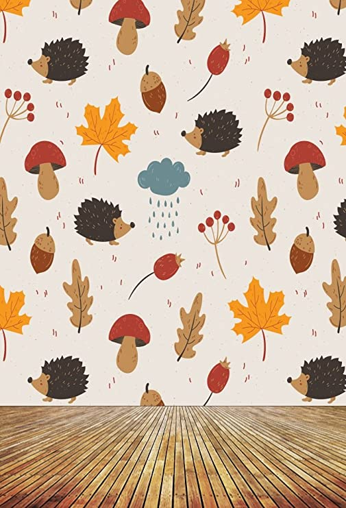 8x12 FT Hedgehog Vinyl Photography Backdrop,Cute Little Hedgehog on Autumn Leaves in Forest Scenes from World Background for Party Home Decor Outdoorsy Theme Shoot Props