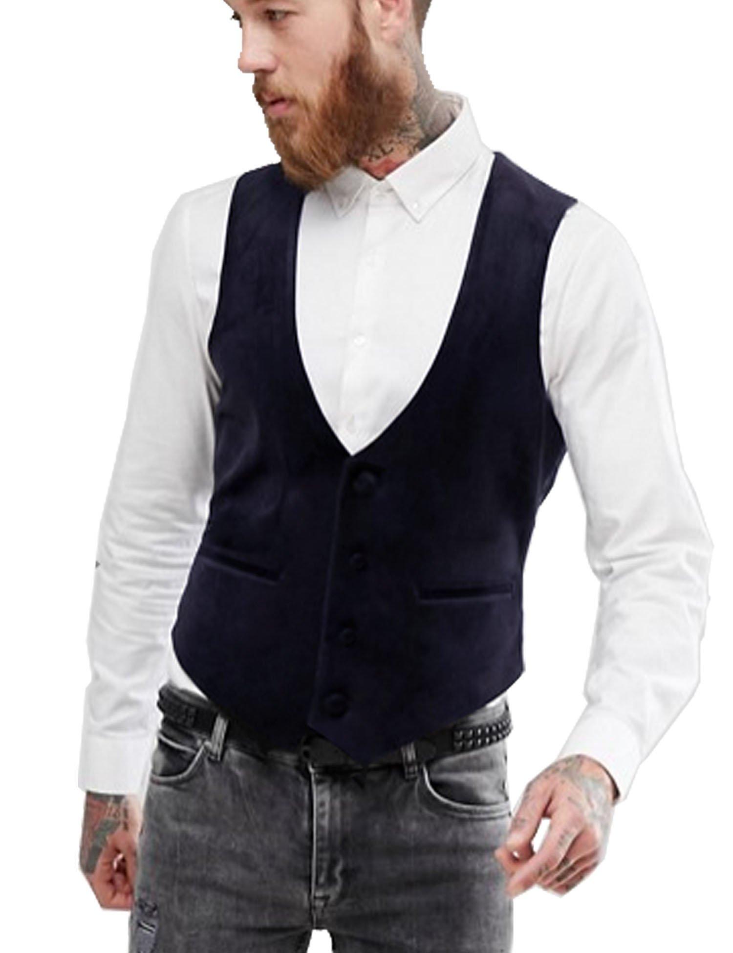 JINIDU Men's Formal Vest Slim Fit Skinny V-Neck Velvet Wedding Evening Suit Waistcoat
