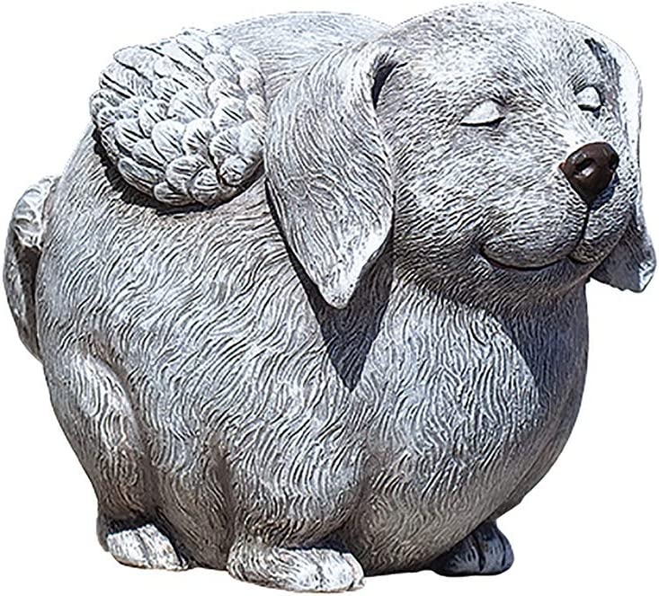 Roman Garden - Pudgy Angel Dog Statue, 5.5H, Pudgy Pals Collection, Resin and Stone, Decorative, Garden Gift, Memorial Gift, Home Outdoor Decor, Durable, Long Lasting