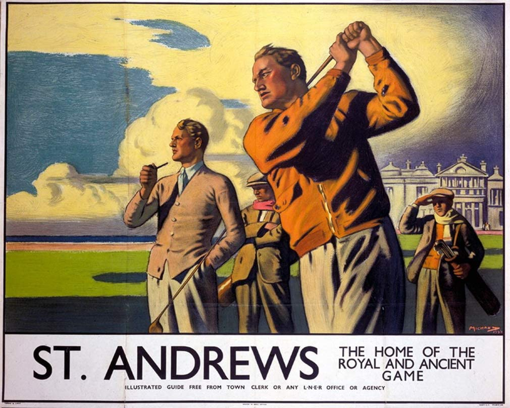 St Andrews Travel Advert Vintage Retro style Metal Sign Plaque holiday golfing