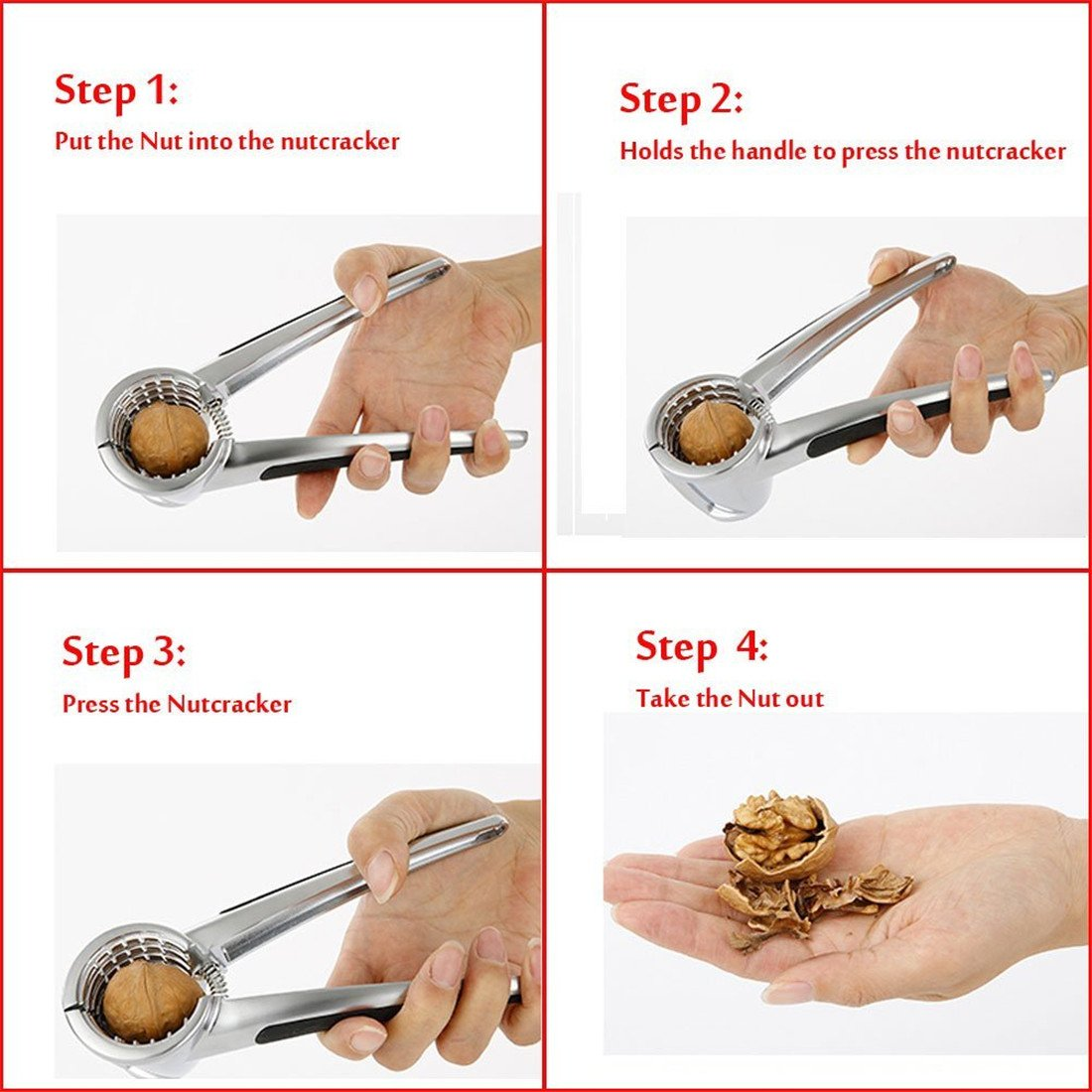 Hazelnuts Almonds Brazil Nuts or other Nuts. V-nut Pecan Nut Cracker Tool Walnut Cracker with 2- Rubber Grips Pecan Nuts Works Great on Walnuts