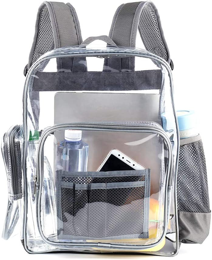 Heavy Duty Transparent Clear Backpack with Laptop Compartment,See Through Clear Plastic Backpack for School, Stadium,Security, Sporting Events (L,Grey)-16 in x 12in x 6 in