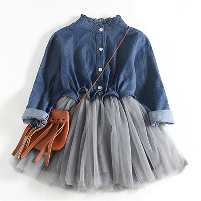 0418c5696ba5 Amazon.com  Girls Dress New White Princess Belt Denim Dress ...