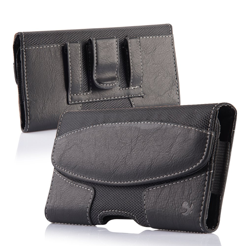 iNNEXT iPhone 8 Plus Belt Clip Case, Premium Horizontal Leather Case Pouch Holster with Magnetic Closure, Pouch Sleeve Carrying Case with Belt Clip Holster for iPhone 7 Plus/6S Plus 5.5 inch (Black) by iNNEXT (Image #1)