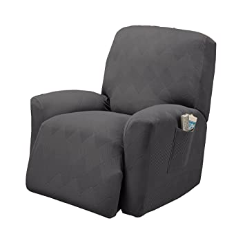 Stretch Sensations, Optic Recliner Slipcover, Standard Recliners, Perfect Chair Protection, Comfortable and Easy Stretch Fabric (Grey)