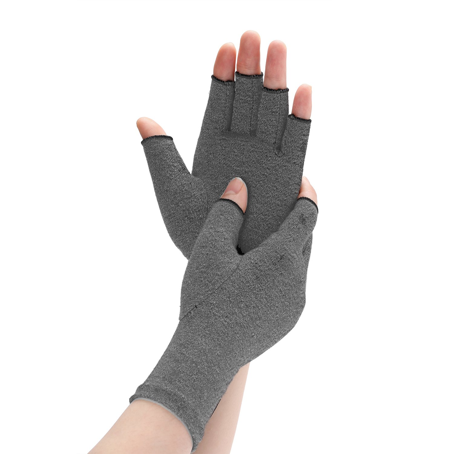 Arthritis Compression Gloves Relieve Pain from Rheumatoid, RSI, Carpal Tunnel, Rheumatiod, Tendonitis, Hand Gloves Fingerless for Dailywork - Men & Women - Open Finger (Gray, Medium)