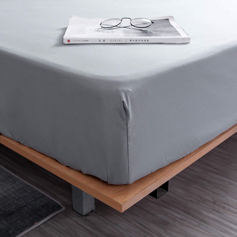bianco 600 fili Lenzuolo con angoli extra profondi Comfort Beddings singolo, bianco 100/% cotone egiziano 40 cm Grey super morbido Emperor ipoallergenico Cotone
