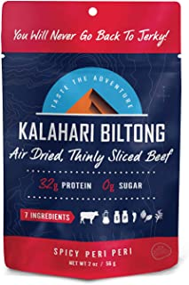 product image for Kalahari Biltong | Air-Dried Thinly Sliced Beef | Spicy Peri Peri | 2 oz. (Pack of 1) | Sugar Free | Keto & Paleo | Gluten-Free