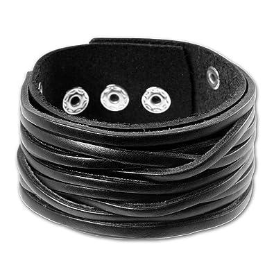 Lederarmband herren  SilberDream Lederarmband schwarz Herren Leder Armband Echtleder ...