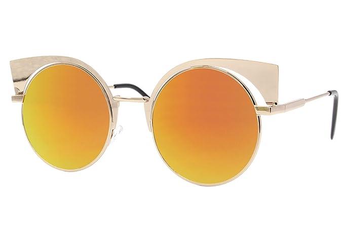 Cheapass Occhiali da Sole Specchiati d'Oro Lenti Rotondi UV-400 Hipster Metallo Uomini Donne Ragazze zvIsF