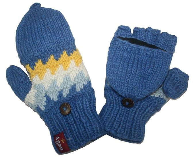 9db77f76097 1415 G Unisex Hand Knit Wool Fleece Folding Chaal Mitten  Blue Multi  at  Amazon Women s Clothing store