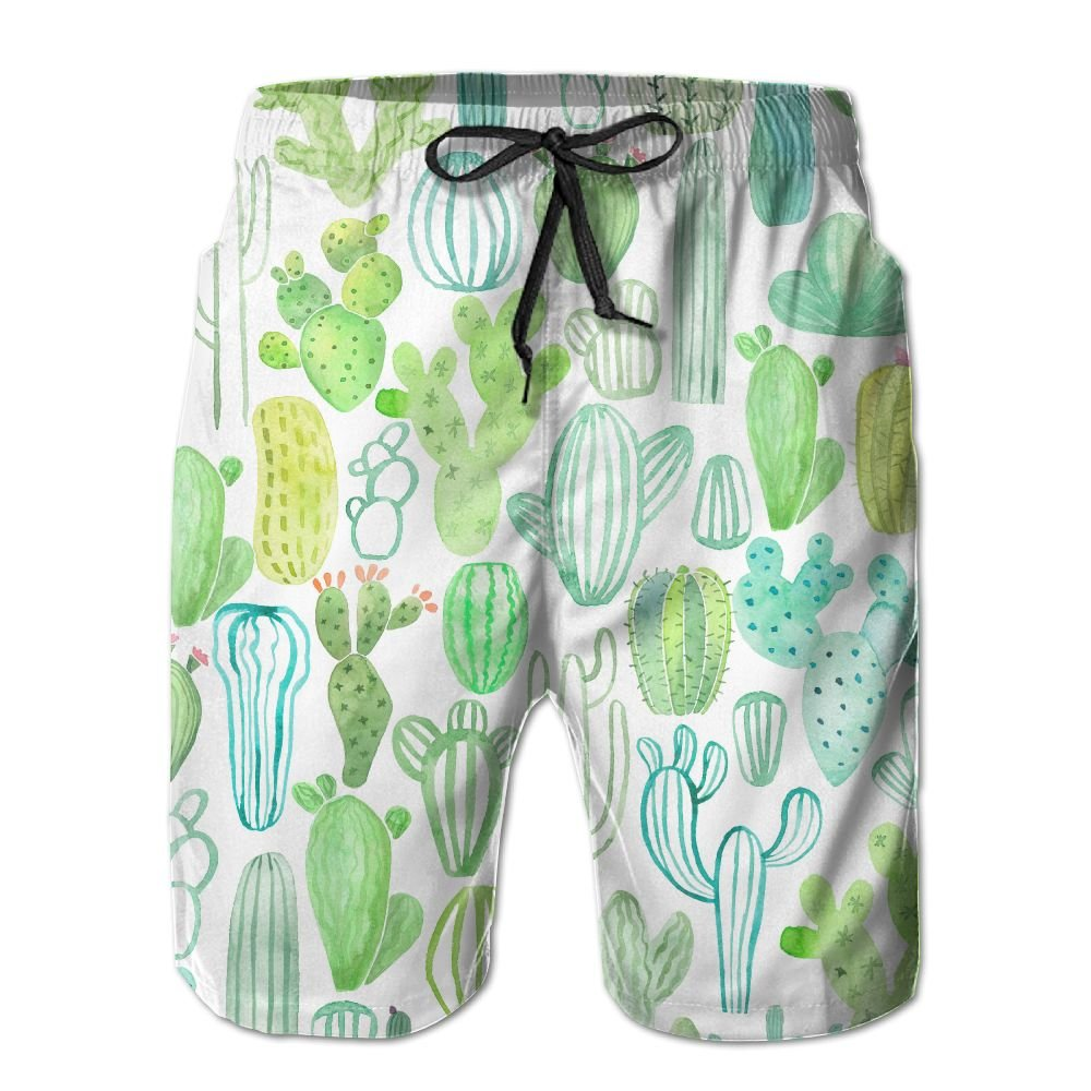 NGFF Watercolor Various Cactus Summer Casual Style Adjustable Beach Home Sport Shorts