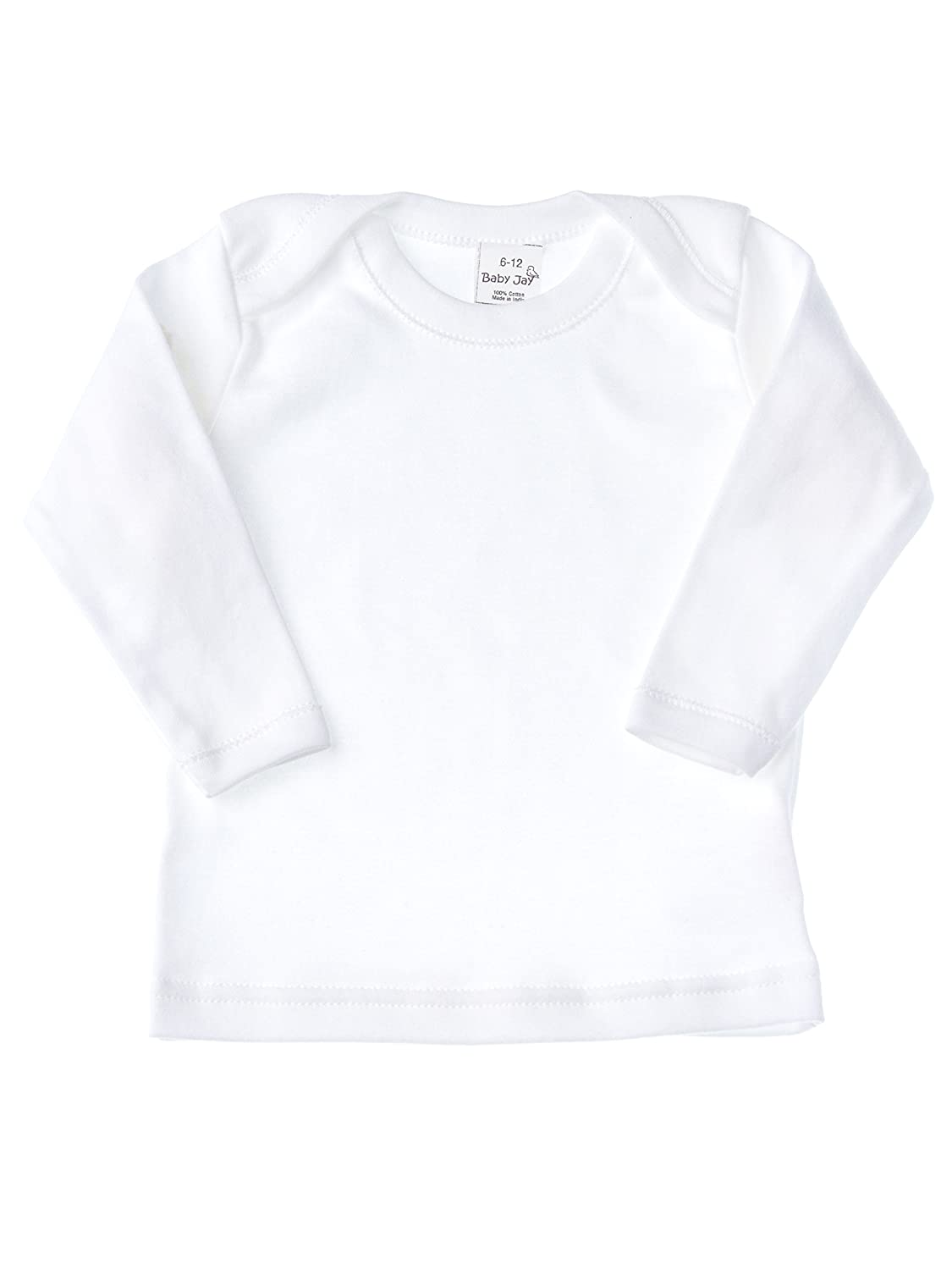 Baby Jay Long Sleeved Undershirt - White Unisex Baby and Toddler Soft Cotton Tee With Lap Shoulder - Boys and Girls T Shirt BJ-WTLE-1