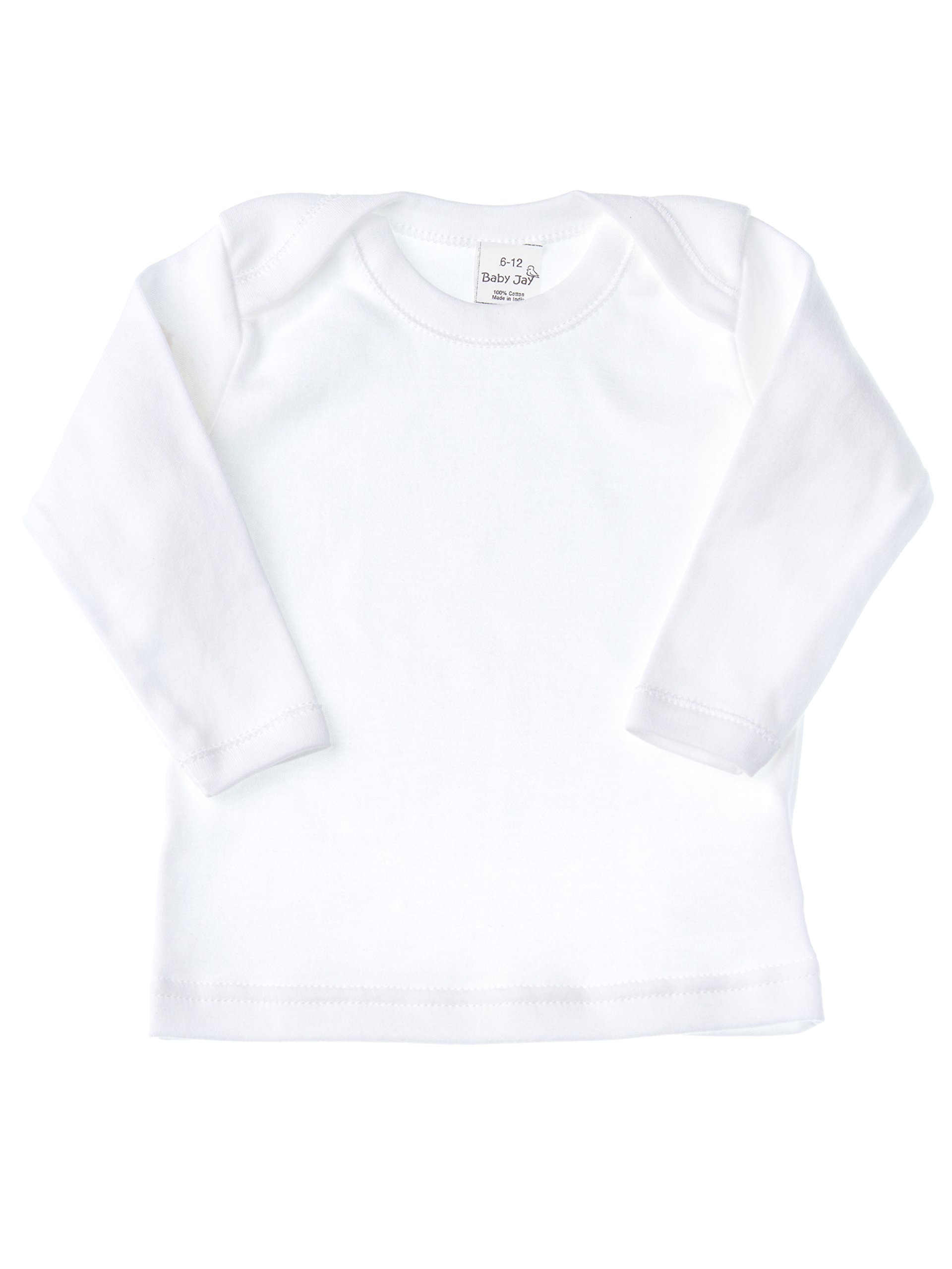 Baby Jay Cotton Undershirt T-Shirt, Long Sleeve Lap Shoulder - WTLE 18-24 5-Pack by Baby Jay (Image #2)