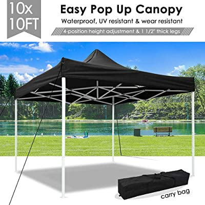 Awesome and Durable Pop Up Canopy Outdoor Tent Folding Gazebo Party Sun Shade Shelter 10x10 ft (Canopy Tent- Black) : Garden & Outdoor
