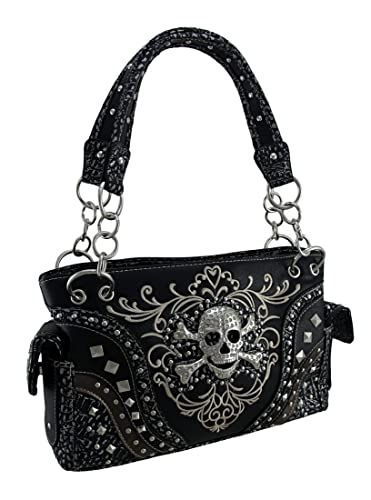 d2103f1902 Embroidered Concealed Carry Rhinestone Skull Studded Purse  Handbags   Amazon.com