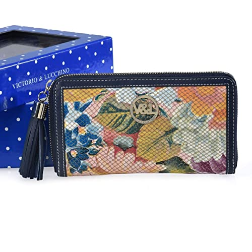 Victorio & Lucchino Cartera de piel para Mujer Marca Ref. 331 color Azul Billetero monedero tarjetero de piel en grabado de serpiente de señora: Amazon.es: ...