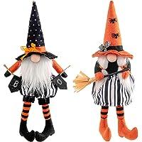 Gukasxi Halloween krasnal pluszowe dekoracje 2 szt. ręcznie robiona czarownica krasnal para szwedzki Tomte krasnal…