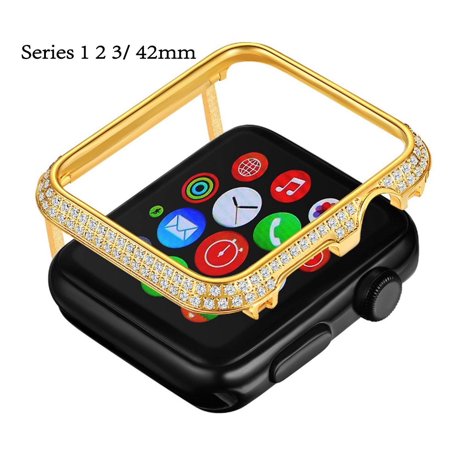 Callancity Gold Plated Face Cover Crystal Case Decoration Bezel Compatible with Apple Watch Series 3 2 1 42mm for Men/Women by Callancity