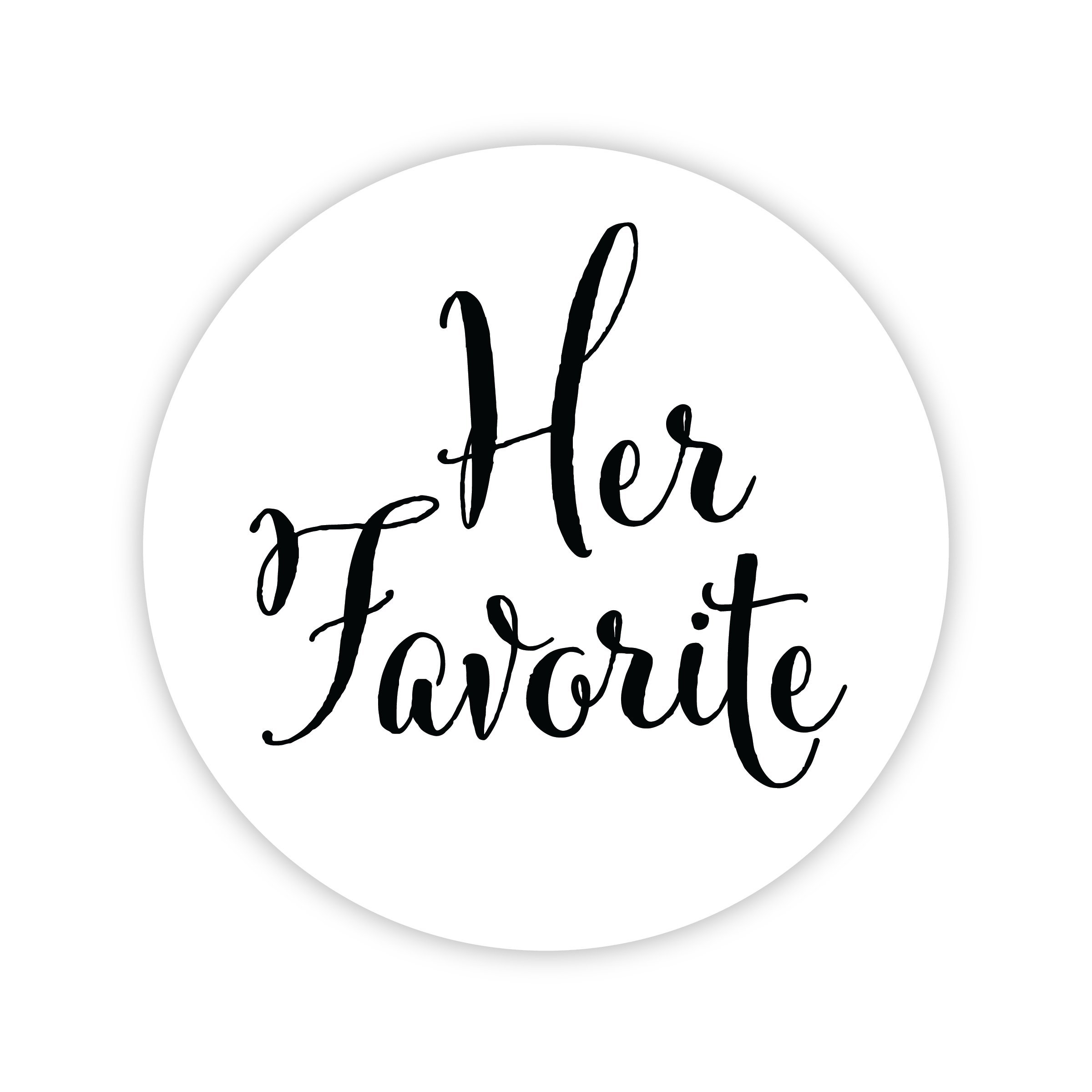 Her Favorite Wedding Stickers, Choose Your Colors, Wedding Favor Stickers (Black on Matte - Her Favorite) (403-BK)