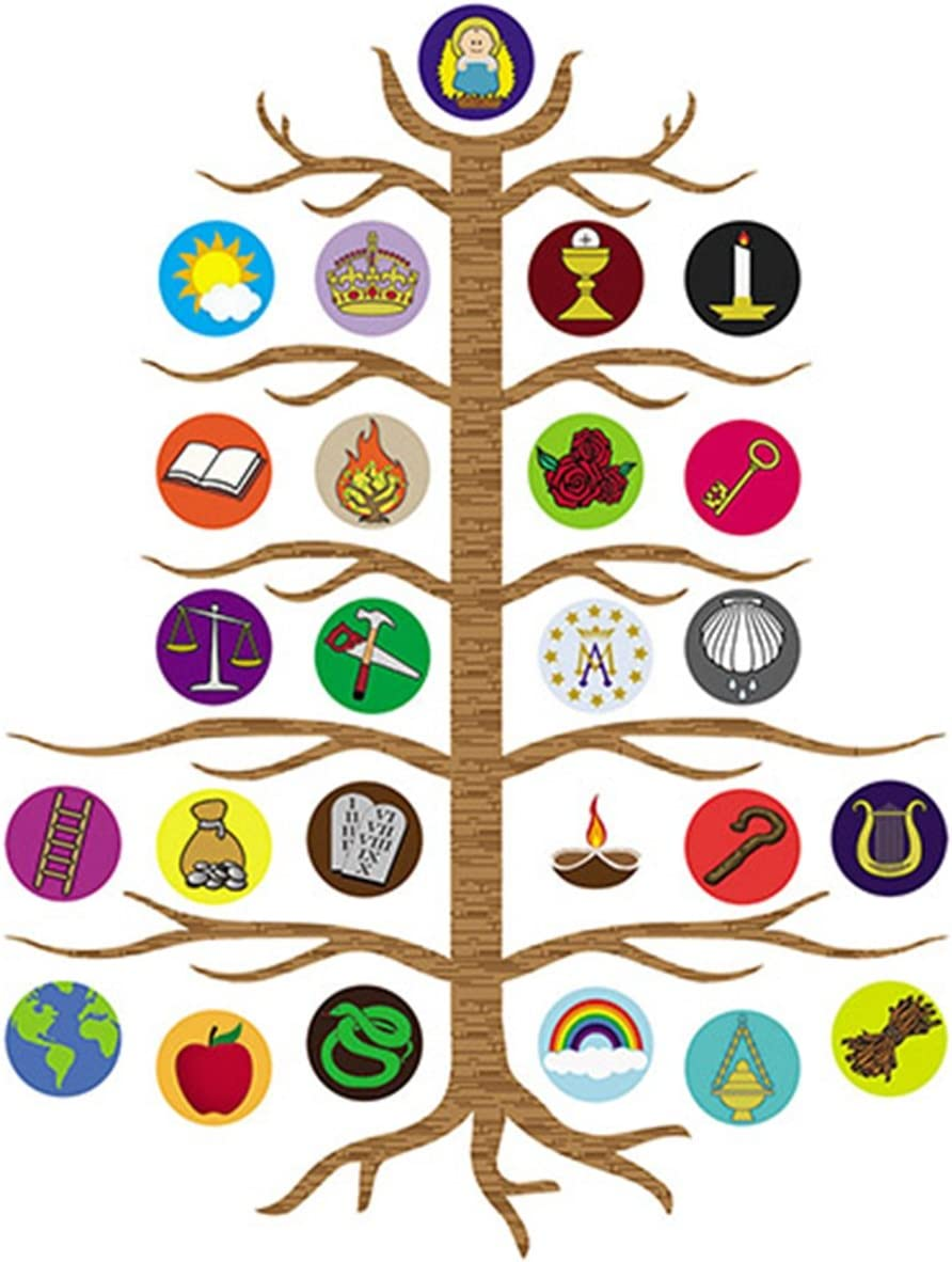 Advent Jesse Tree Devotional Flexible Magnet Set with Explanation Story Card, 10 1/2 Inch