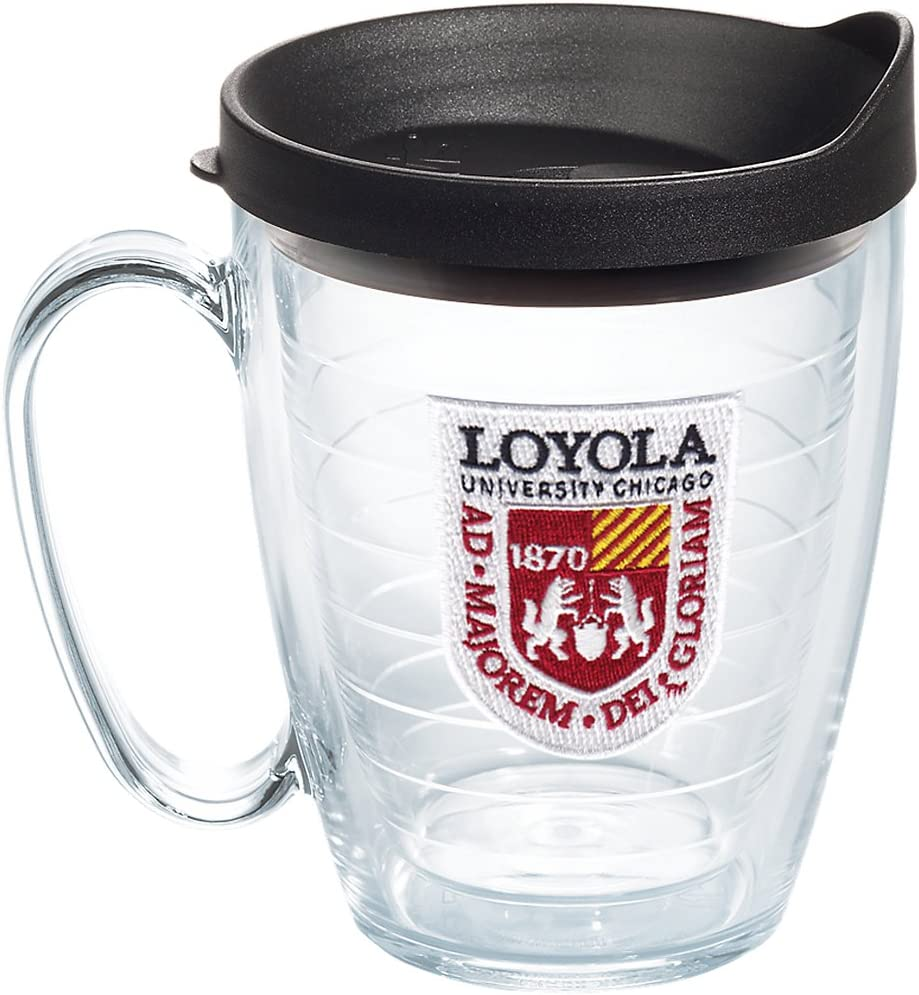 Tervis Loyola Ramblers Logo Insulated Tumbler with Emblem and Black Lid, 16oz Mug, Clear