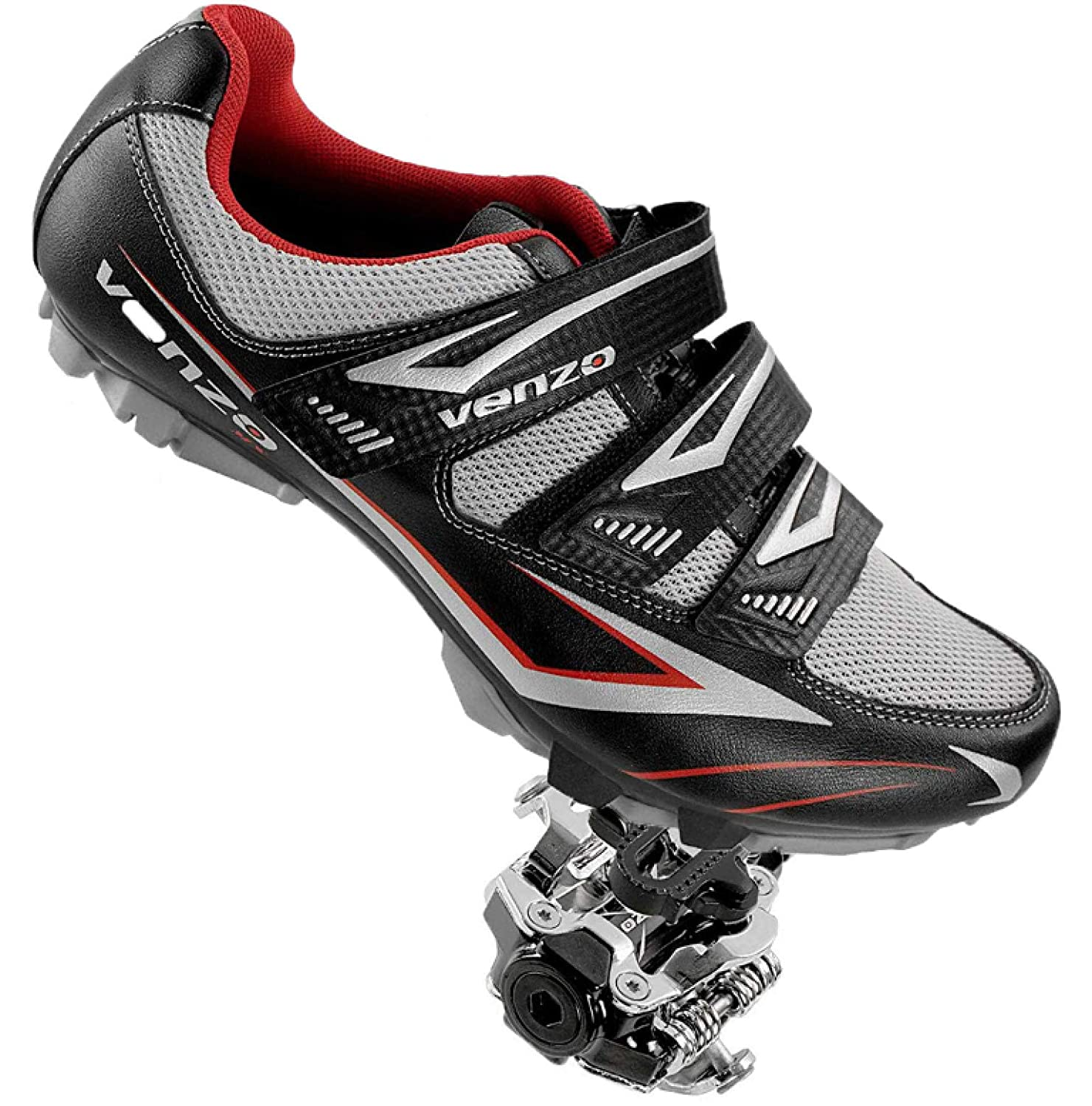 Venzo Mountain Men s Bike Bicycle Cycling Compatible with Shimano SPD Shoes Pedals Cleats – Good for Spin Cycle, Off Road, MTB Package