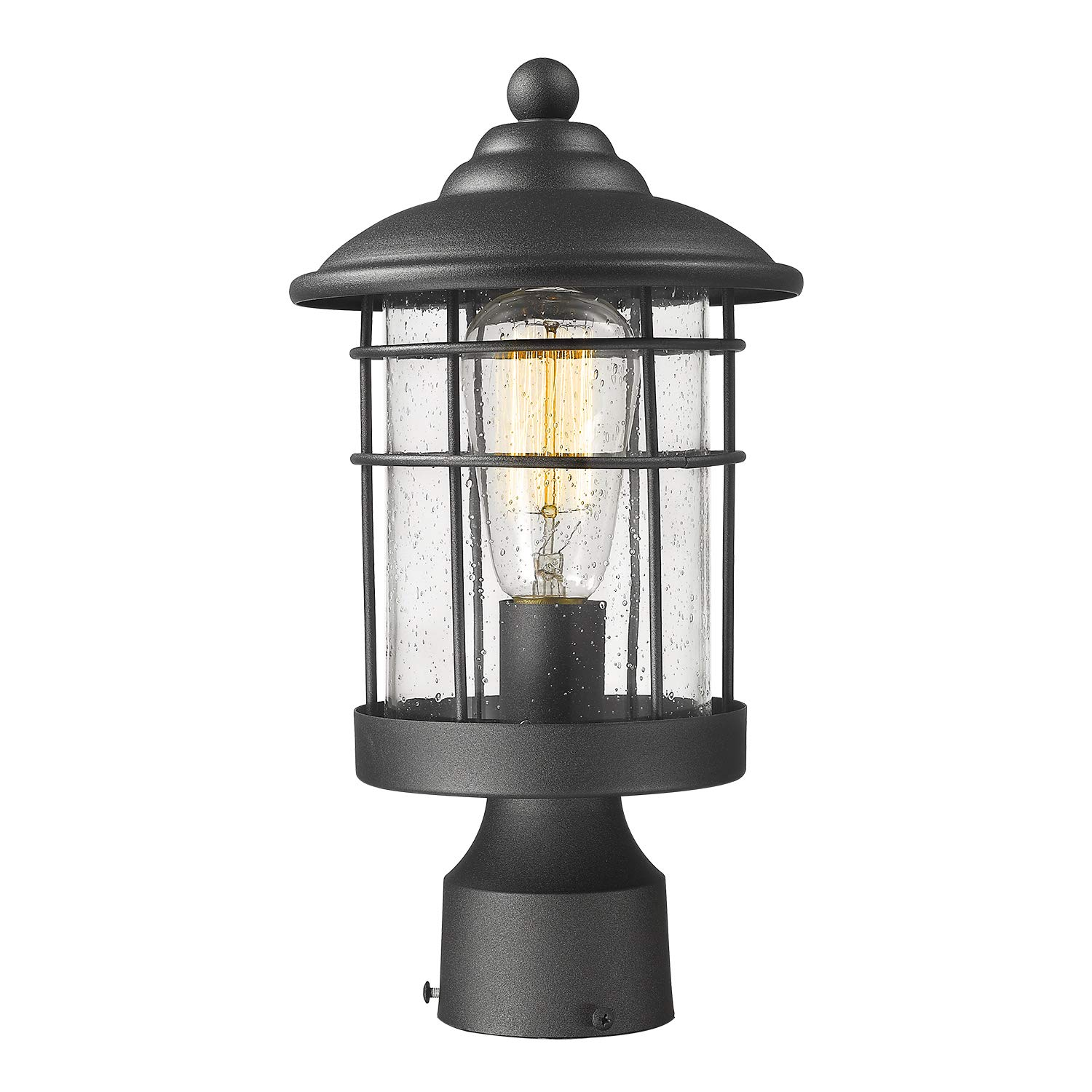 Emliviar 1-Light Outdoor Post Light, Exterior Post Lantern in Black Finish with Seeded Glass, 1803CW2-P by EMLIVIAR