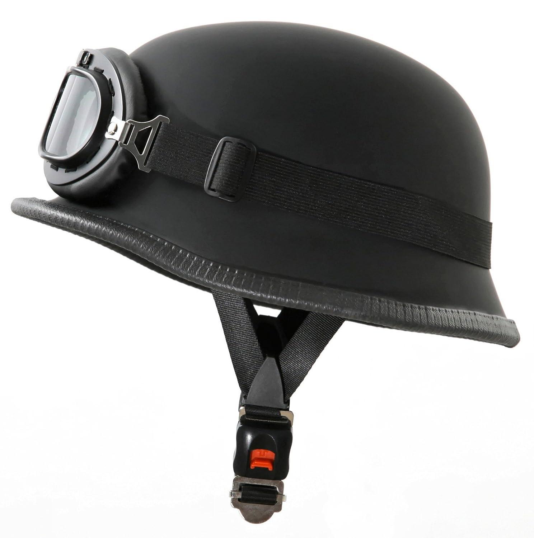 Oldtimer Stahlhelm mit Fliegerbrille Grö ß e: (M, Schwarz matt) ATO-Helme WH1