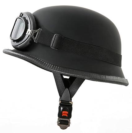 ATO WH1-Casco para moto estilo militar con gafas de aviador M (57-58cm) negro mate
