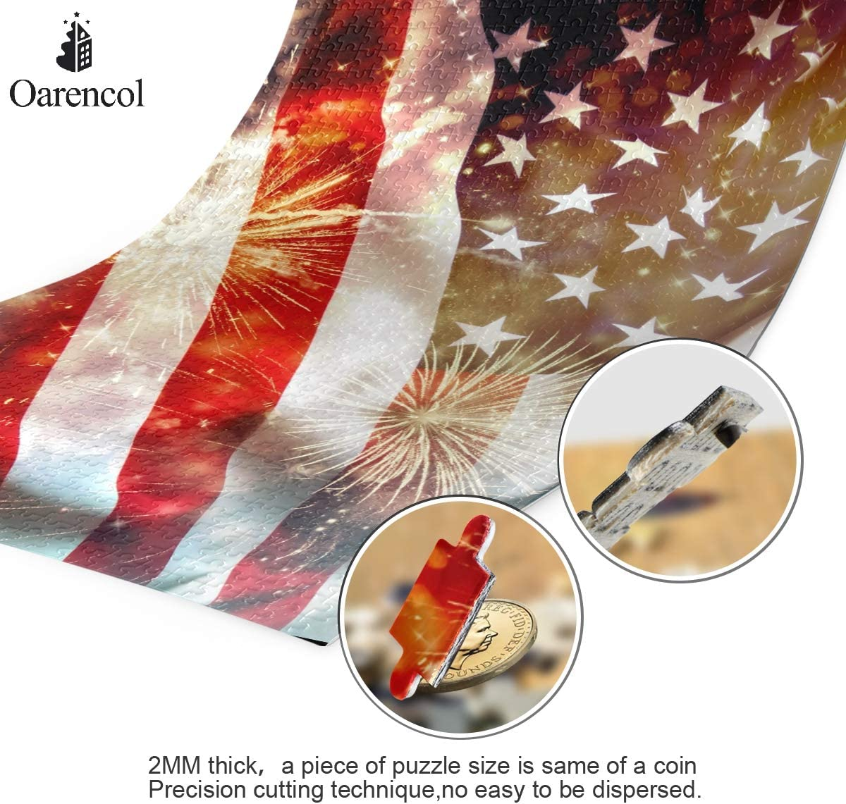 American Flag Fireworks Jigsaw Puzzle USA 4th of July Patriotic Independence Day 500 Pieces Puzzles Educational Intellectual Decompressing Fun Game for Kids Adult Home Wall Decor