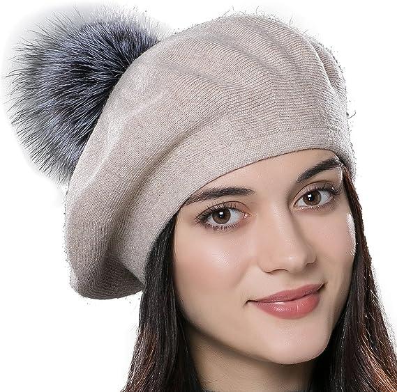 URSFUR Bonnet Béret Pompon Fourrure De Renard Chapeau Bonnet Tricot Femme  Hiver