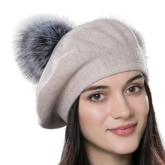 URSFUR Bonnet Béret Pompon Fourrure De Renard Chapeau Bonnet Tricot Femme  Hiver beige b0dcc1ccf7c