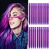 "Wiysday 20PCS Colored Clip in Hair Extensions 22"" Purple Hair Extensions for Kids Girls Clip in Colored Purple Hair Clips for Kid Hair Extensions Party Highlights Purple Hair (Purple)"