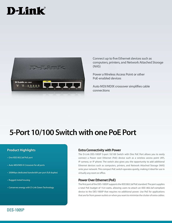 Image result for Switch D-Link DES-1005p 5-Port PoE Fast Ethernet