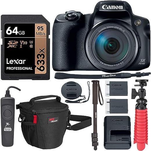 Canon PowerShot SX70 HS 4K Camera with Video-Ready Lexar U3 Memory Card,...