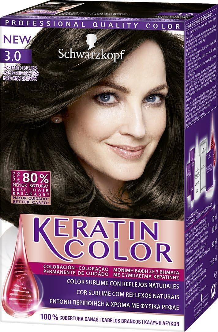 Keratin Color de Schwarzkopf - Tono 3.0 Castaño Oscuro - 2 ...