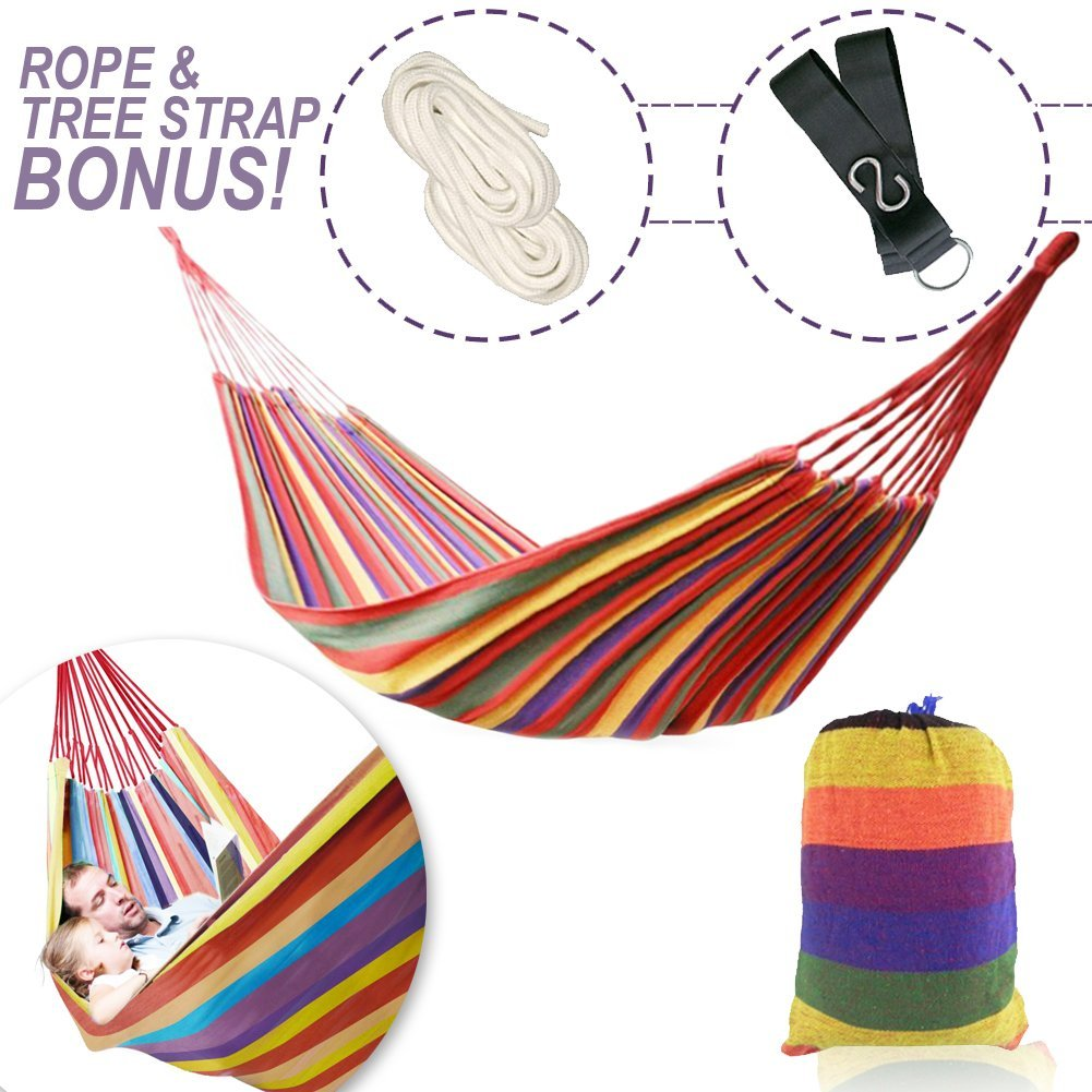 WeHammock  The Comfiest Two Person Double Cozy Brazilian Nest Hammock with Tree Straps for Indoor Outdoor Travel Camping, Durable Soft Cotton (Holds 250 lbs), Sturdy Rope and Carrying Case Included WeHammockTM