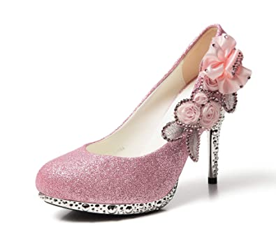 88e0ec8396239 getmorebeauty Women's Silver Lace Flower Pearls Closed Toes Wedding Shoes  Pumps