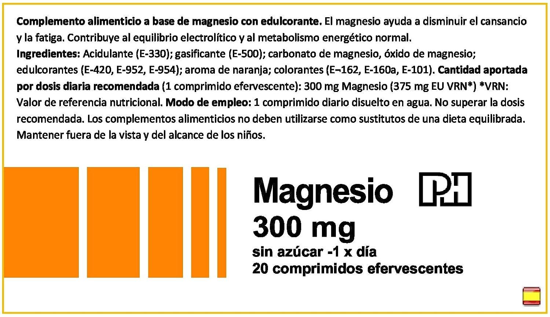MAGNESIO PH 300 mg 20 comprimidos efervescentes sabor NARANJA: Amazon.es: Salud y cuidado personal
