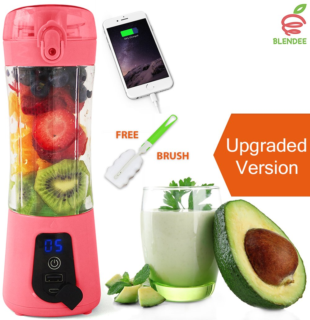 BLENDEE Portable Blender USB Juicer Cup, Personal Size Fruit Mixer Travel Bottle, Rechargeable Drink Mixing Machine for Fitness/Outdoors/Office, 380ML Juice Extractor with Digital Display