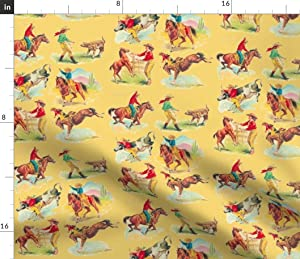 Spoonflower Fabric - Vintage Inspired, Western, Cowboy, Cowgirl, Wild West, Rodeo, Rancher, Printed on Petal Signature Cotton Fabric by The Yard - Sewing Quilting Apparel Crafts Decor