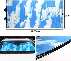 Retractable Windshield Sun Shade for Car, Honeycomb Sun Visor Protector Blocks 99% UV Rays to Keep Your Vehicle Cool, Cordless Cellular Sunshade Fits Various Models with 3 Suction Cups 25.6