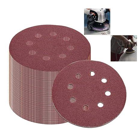125mm 8 HOLE HOOK /& LOOP SANDING DISCS 60,80,120,240 Packs of 10
