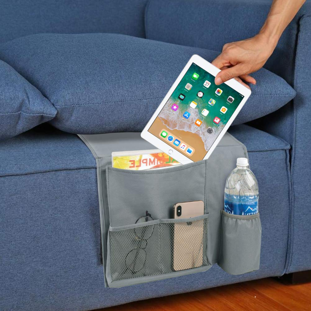 HAKACC Bedside Caddy/Bedside Storage Organizer,Under Couch Table Mattress,Book Remote Glasses Caddy, Gray