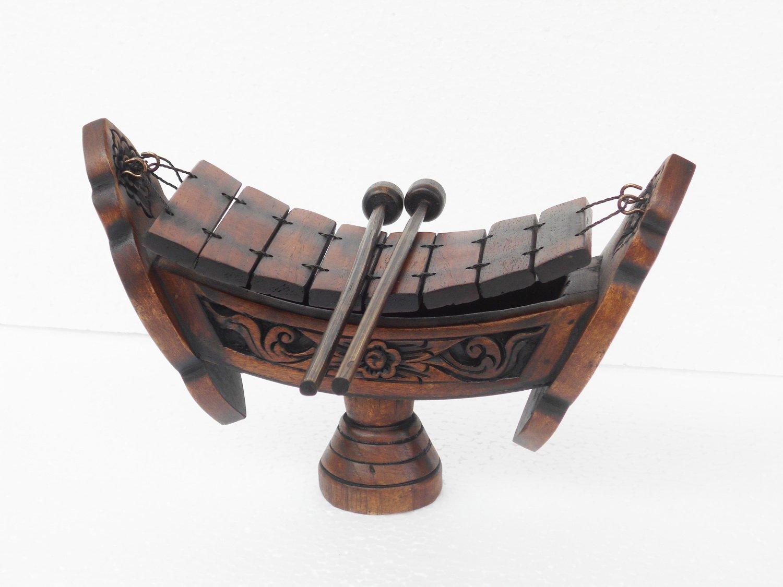 Thai Teak Wood Teak Wood040 Traditional Wooden Xylophone, 8 bar Notes