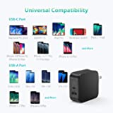 USB C Charger, RAVPower 61W USB Wall Charger PD 3.0 Type C Charger, Dual Port USB Charger, Compatible with iPhone 11/11 Pro / 11 Pro Max, MacBook Pro Air, Dell XPS, iPad Pro 2018 and More - Black