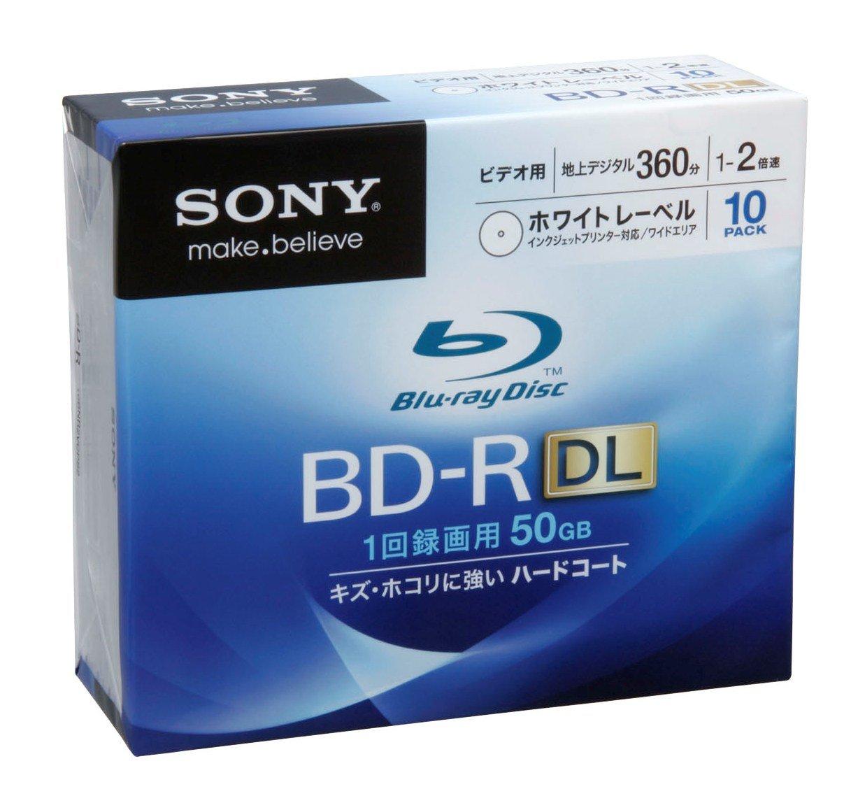 Sony Blu-ray Disc 10 Pack - 50GB 2x Speed BD-R DL Version 2010 - White Inkjet Printable